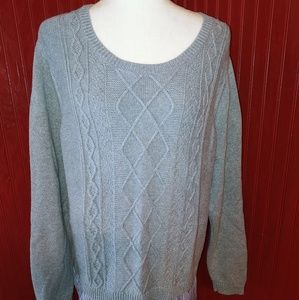 Crown & Ivy Cotton Gray Sweater 2X